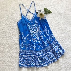 Flying tomato blue white flowy sun dress P13